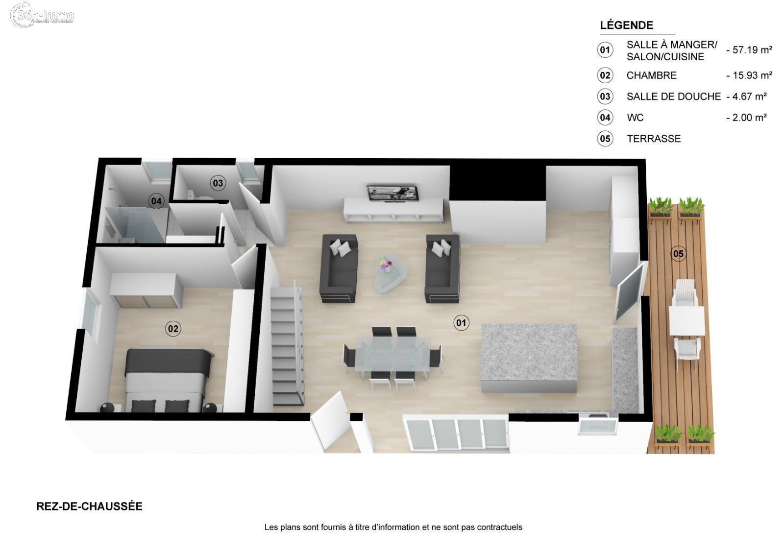 Maison Olivet 45160 Loiret 80 m<sup>2</sup> 2 pi&eagrave;ces 142250 euros